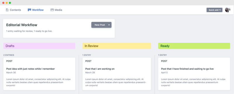 A screenshot of Netlify CMS's editorial workflow screen